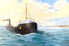John B. Cowle passing Whitefish Point Light Station by Bob McGreevy