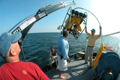 Bob-Smith,-diver-Rick-Heineman-and-Development-Officer-Sean-Ley-launch-the-ROV