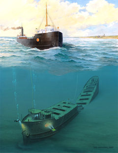 John B. Cowle as she sailed by Bob McGreevy, and her wreck site today, by Ken Marschall.  Collage by Chris Winters.