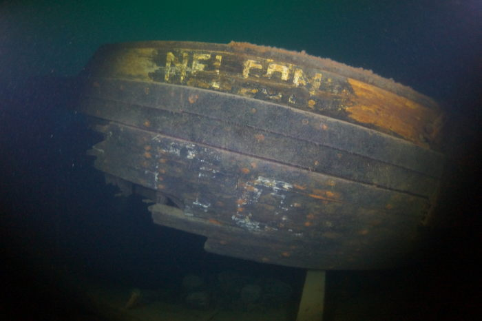 Hull section (bow) still displays the ship's name 115 years after her sinking