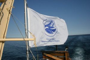 Shipwreck Society flag flying proudly from the mast of the R.V. David Boyd