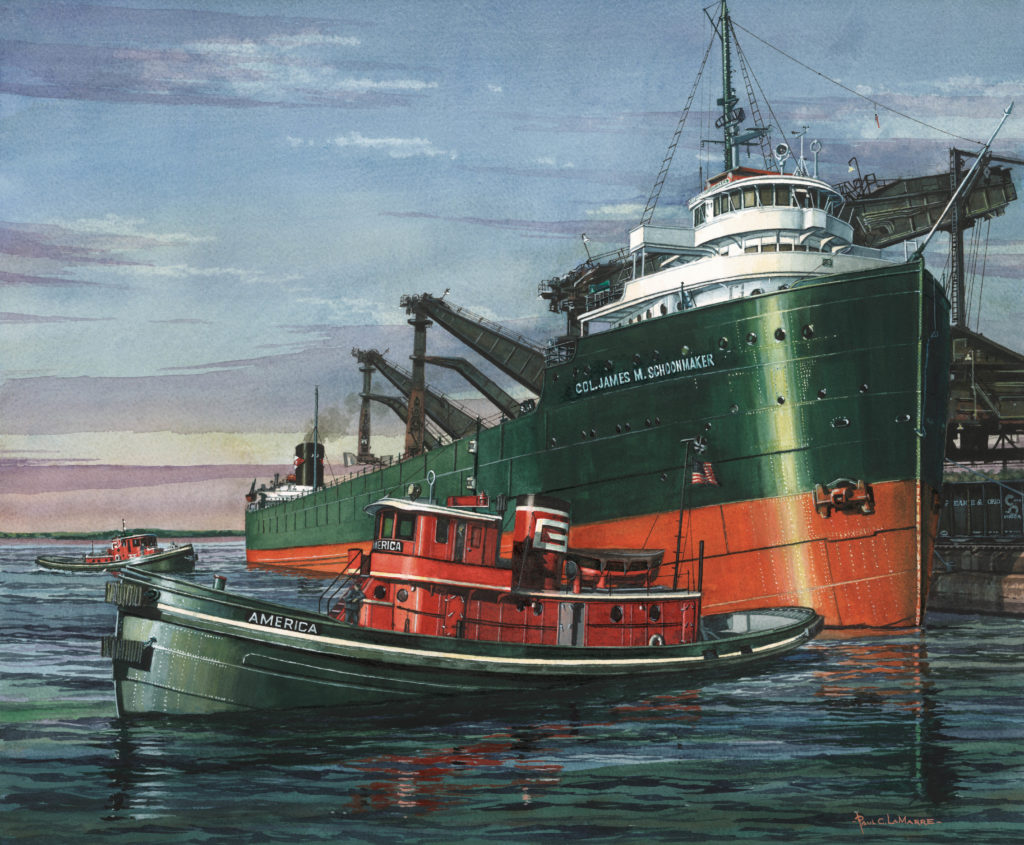 Artwork of Colonel James Schoonmaker and tugboat America, by Paul LaMarre Jr.