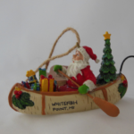 Whitefish Point Poly Resin Santa in a Canoe